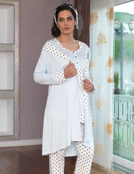 Şahinler - Sahinler Maternity Spotted Sleepwear Set with Slipper Gift Ice Blue MBP23117-1 (1)