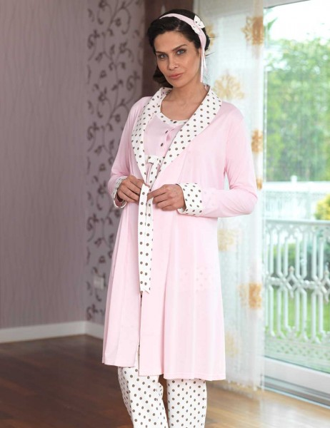 Şahinler - Sahinler Maternity Spotted Sleepwear Set with Slipper Gift Pink MBP23117-2 (1)