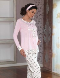 Sahinler Maternity Spotted Sleepwear Set with Slipper Gift Pink MBP23117-2 - Thumbnail