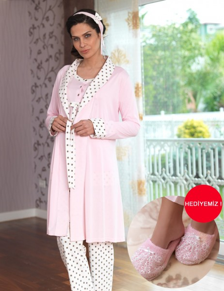 Şahinler - Sahinler Maternity Spotted Sleepwear Set with Slipper Gift Pink MBP23117-2