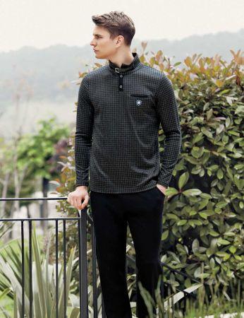 Şahinler - Sahinler Men Collar Pajama Set Dark Grey MEP23219-1