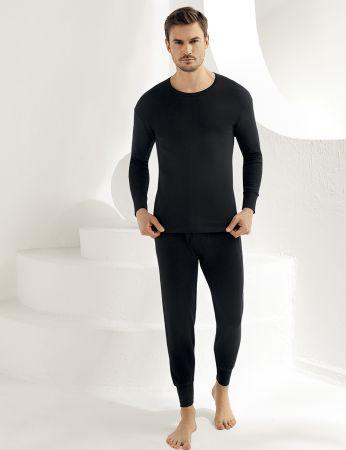 Şahinler - Sahinler Men Interlock Underwear Crew Neck Long Sleeve Black ME016 (1)