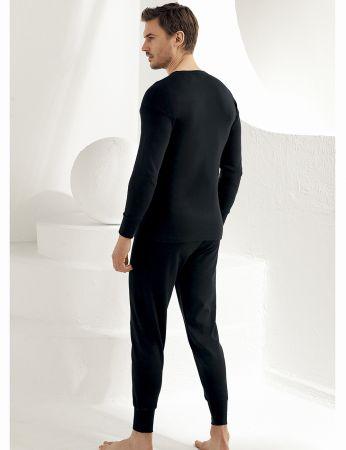 Şahinler - Sahinler Men Interlock Underwear Long Cuff Black ME017 (1)