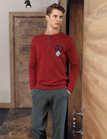 Şahinler - Şahinler Men Pajama Set Bordeaux MEP23806-3