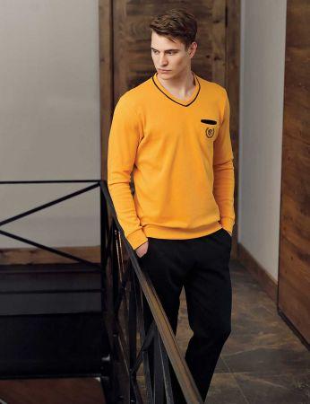 Şahinler - Şahinler Men Pajama Set Mustard MEP23807-3