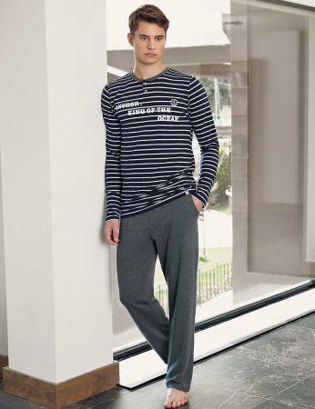 Şahinler - Şahinler Men Pajama Set Navy Blue - White MEP23803-1