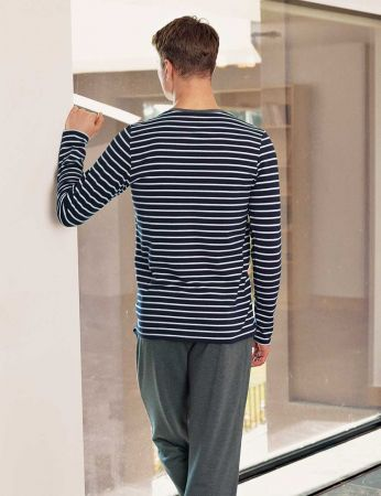 Şahinler - Şahinler Men Pajama Set Navy Blue - White MEP23803-1 (1)