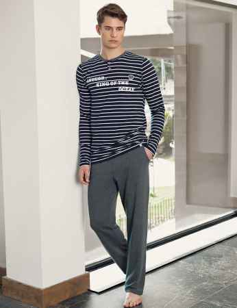 Şahinler Men Pajama Set Navy Blue - White MEP23803-1 - Thumbnail