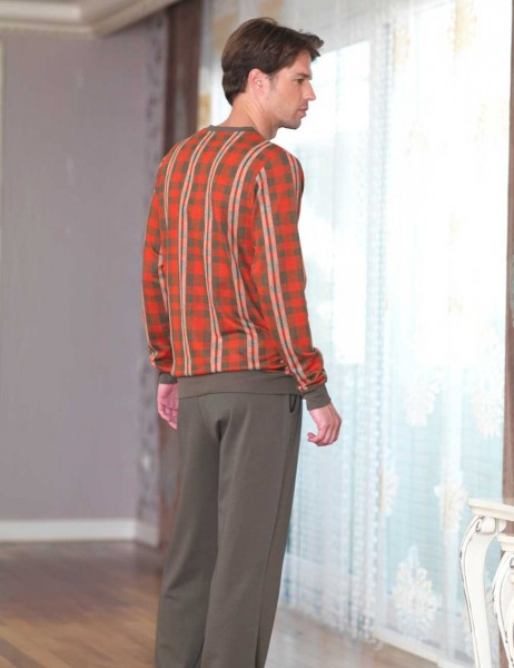 Şahinler - Sahinler Men Pajama Set Pattern Red MEP23229-1 (1)