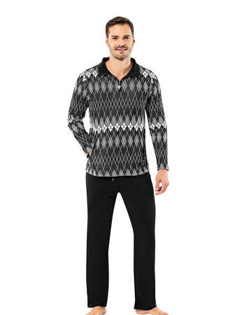 Sahinler Men Pajama Set Patterned Black&White MEP23218-1 - Thumbnail