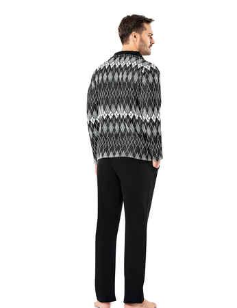 Sahinler Men Pajama Set Patterned Black&White MEP23218-1 - Thumbnail