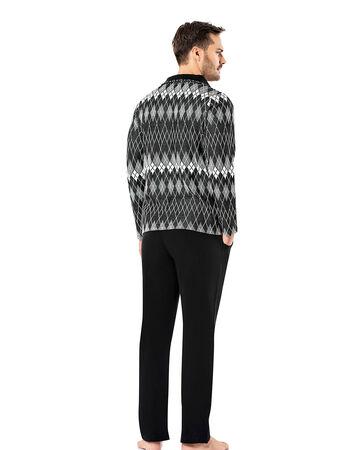 Sahinler Men Pajama Set Patterned Black&White MEP23218-1