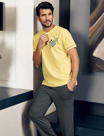 Şahinler - Şahinler Men Pajama Set Yellow MEP24219-3