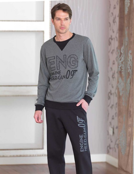 Şahinler - Sahinler Men Printed Pajama Set Dark Grey MEP23225-2