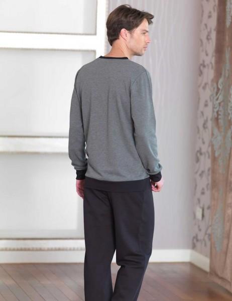 Şahinler - Sahinler Men Printed Pajama Set Dark Grey MEP23225-2 (1)