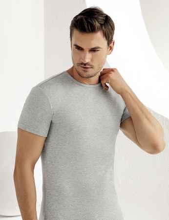 Sahinler Men Rib Singlet Crew Neck Short Sleeve Grey ME027 - Thumbnail