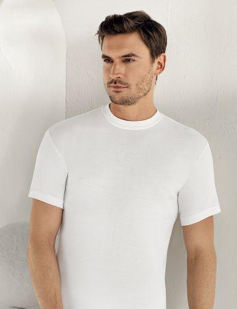 Sahinler Men Rib Singlet Crew Neck Short Sleeve White ME022