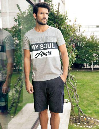 Şahinler - Şahinler Men Short Set Grey MEP24208-1