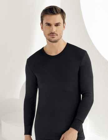 Sahinler Men Thermal Underwear Crew Neck Long Sleeve Black ME093 - Thumbnail