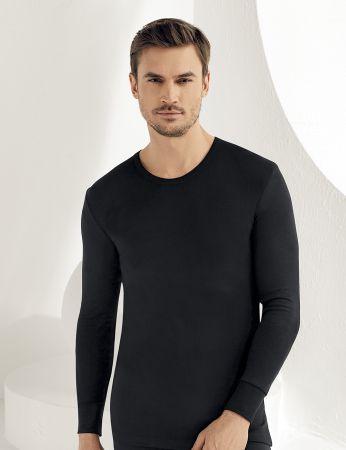 Sahinler Men Thermal Underwear Crew Neck Long Sleeve Black ME093