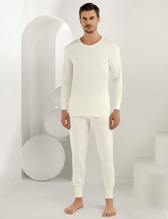 Şahinler - Sahinler Men Underwear Long Sleeve Crew Neck Interlock Cream ME016 (1)