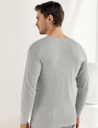 Şahinler - Sahinler Men Underwear Long Sleeve Crew Neck Interlock Grey ME016 (1)