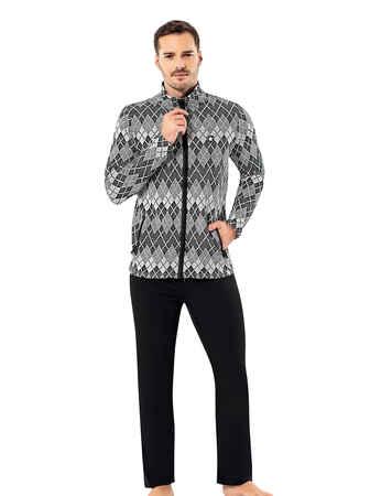 Sahinler Men Zip Pajama Set Pattern MEP23204-1 - Thumbnail