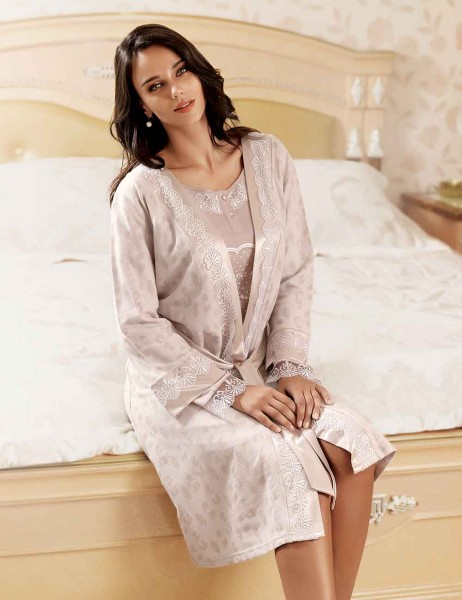 Şahinler - Sahinler Morning Gown & Nightgown Set Champagne MBP22414-1 (1)