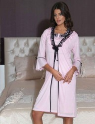 Şahinler - Sahinler Nachthemd Mini mit Morgenmantel im Set rosa MBP21544-2