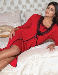 Şahinler - Sahinler Nachthemd Mini mit Morgenmantel im Set rot MBP21544-3