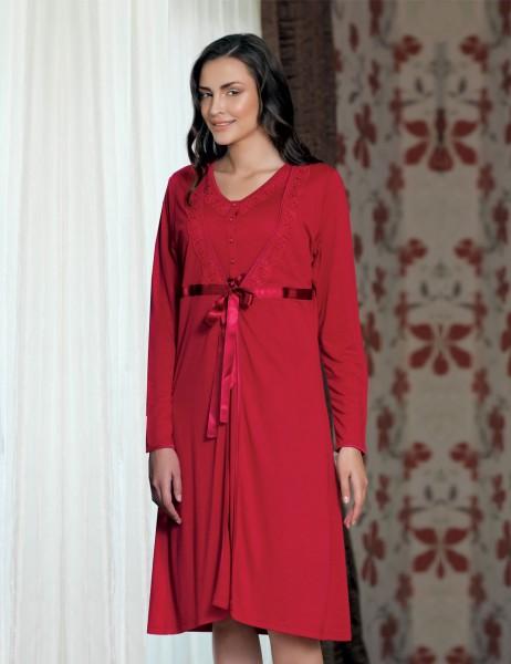 Sahinler Nachthemd und Morgenmantel im Set rot (mit Geschenk) MBP21628-1