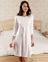Sahinler Nachthemd und Morgenmantel im Set weiß MBP22444-1 - Thumbnail