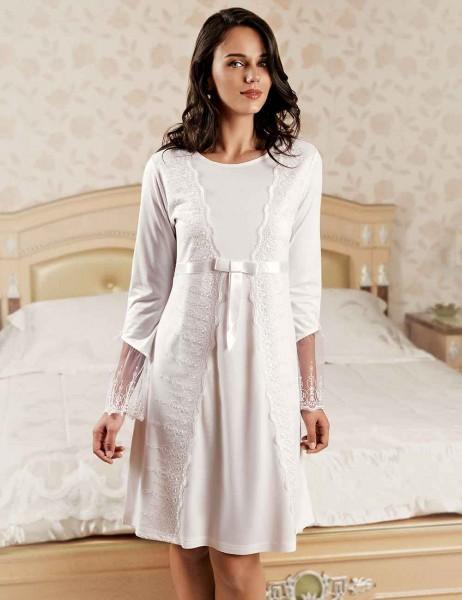 Sahinler Nachthemd und Morgenmantel im Set weiß MBP22444-1