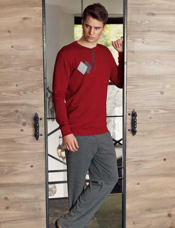 Şahinler - Şahinler Nakışlı Düğmeli Erkek Pijama Takımı Bordo MEP24518-3