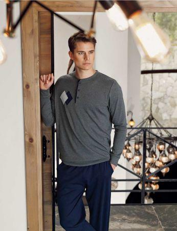 Şahinler - Şahinler Nakışlı Düğmeli Erkek Pijama Takımı Gri MEP24518-1