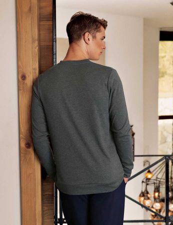 Şahinler - Şahinler Nakışlı Düğmeli Erkek Pijama Takımı Gri MEP24518-1 (1)
