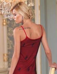 MB1011 قميص نوم احمر دانتيل حمالة - Thumbnail