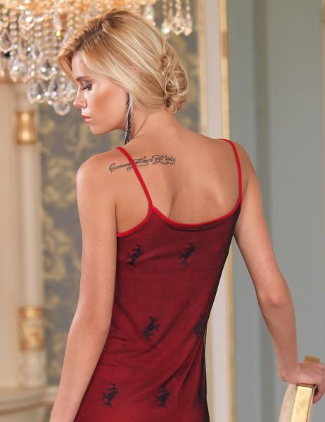 Şahinler - MB1011 قميص نوم احمر دانتيل حمالة (1)