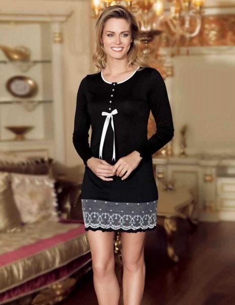 Şahinler - MBP21809-1 قميص نوم اسود تنورة دانتيل
