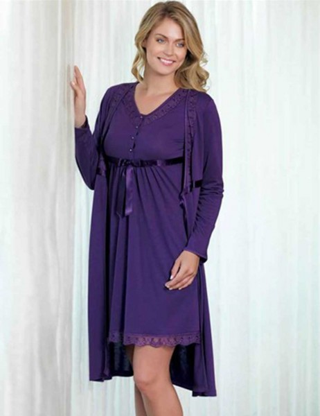 Şahinler - Sahinler Night Gown & Morning GownSet Purple (Suprise Gift) MBP21628-2