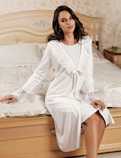 Şahinler - Sahinler Nightgown and Morning Gown Set White MBP22444-1 (1)
