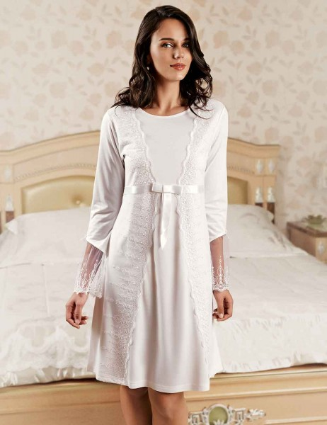 Şahinler - Sahinler Nightgown and Morning Gown Set White MBP22444-1