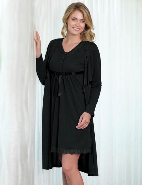 Şahinler - Sahinler Nightgown & Morning Gown Set Black (Suprise Gift) MBP21628-3