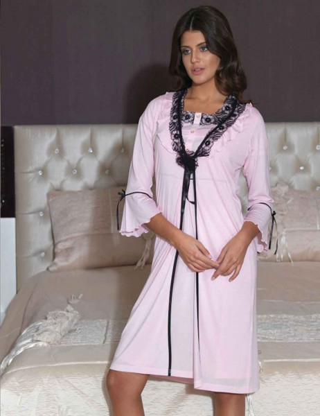 Şahinler - Sahinler Nightgown & Morning Gown Set Pink MBP21544-2
