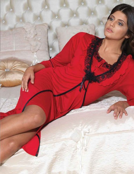 Şahinler - Sahinler Nightgown & Morning Gown Set Red MBP21544-3
