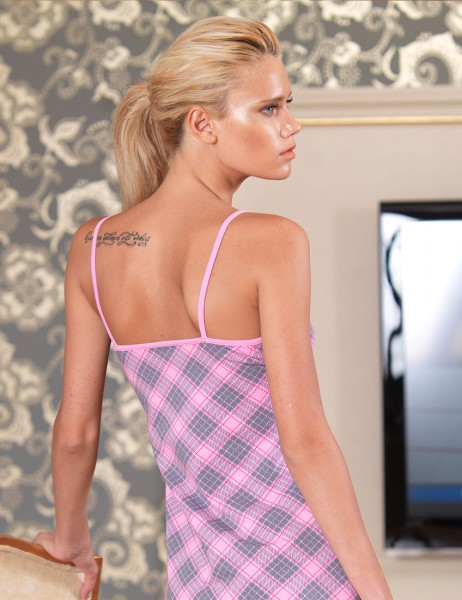 Şahinler - Sahinler Nightgown Spaghetti Strap Plain Patterned Pink MB473 (1)