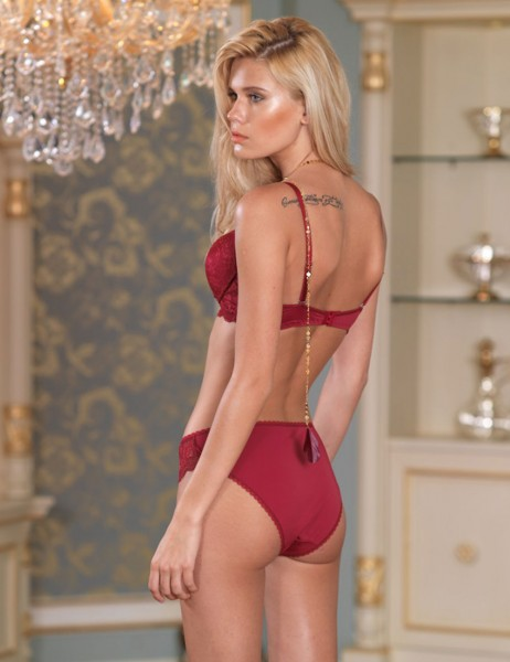 Şahinler - Sahinler Non Push-up Bra & Brief Set Burgundy M10500-B (1)