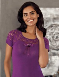Sahinler Oberhemd mit Raglanärmeln und Spitze lila MB412 - Thumbnail