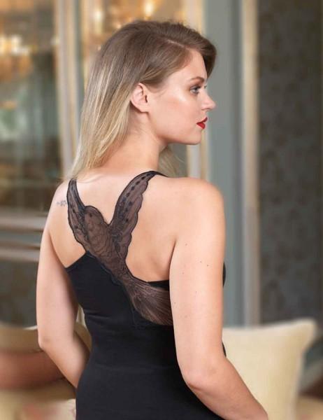 Şahinler - Sahinler Oberhemd Rücken mit Vogelmuster aus Tüll schwarz MB437