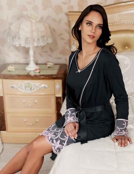 Sahinler Oleander Morgenmantel und Nachthemd im Set schwarz MBP22406-1